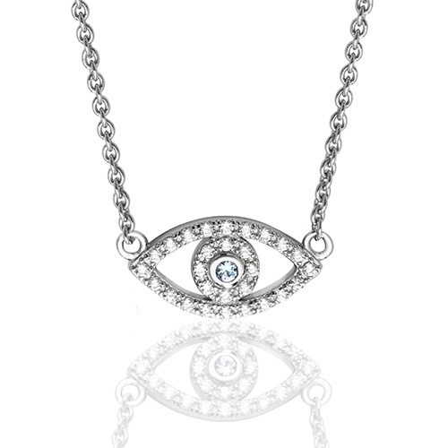 Love Island Anna Silver Evil Eye Necklace